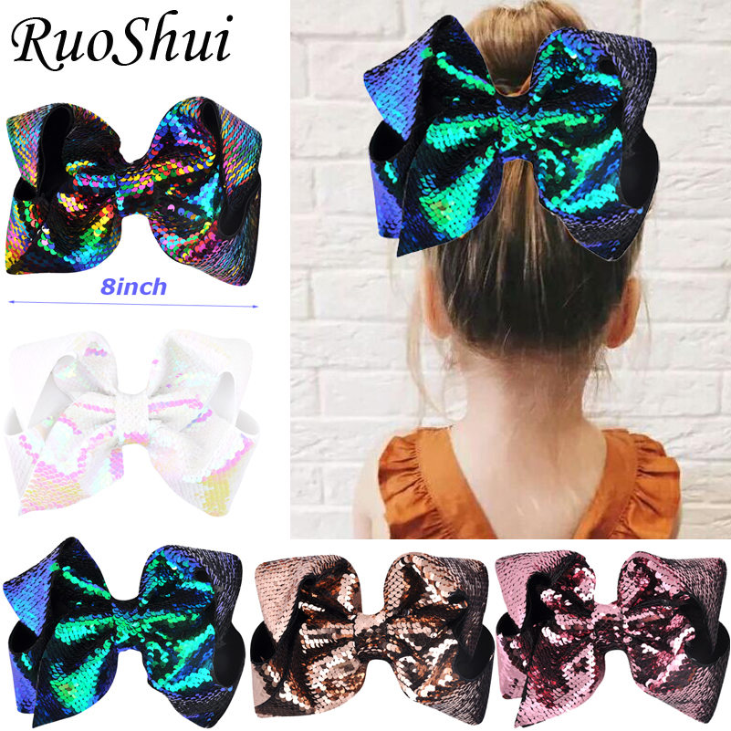 8 Inch Hot Sale Big Rainbow Mermaid Large Hair Bow Hairgrips Alligator Children Girls Hair Accessories Party Festival Headwear