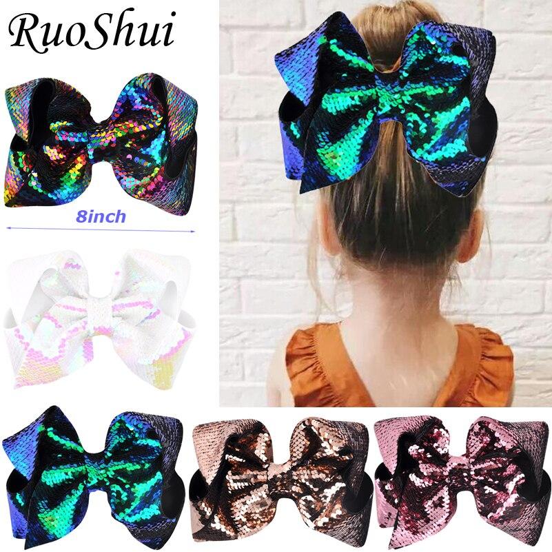 8 Inch Hot Sale Big Rainbow Mermaid Large Hair Bow Hairgrips Alligator Children Girls Hair Accessories Party Festival Headwear