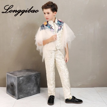 Children's model catwalk show small host piano costumes boys suit vest suit girls personality tide... boys england white vertical striped lapel children vest piano show catwalk blazer set boy piano wedding party costumes h464