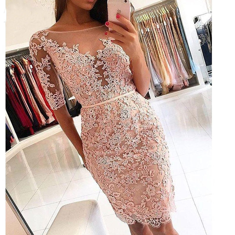 New Arrival Prom Party Dresses Vestido De Noiva Sereia Gown Robe De Soiree Evening Half Sleeves Short Beads Lace Short Frock