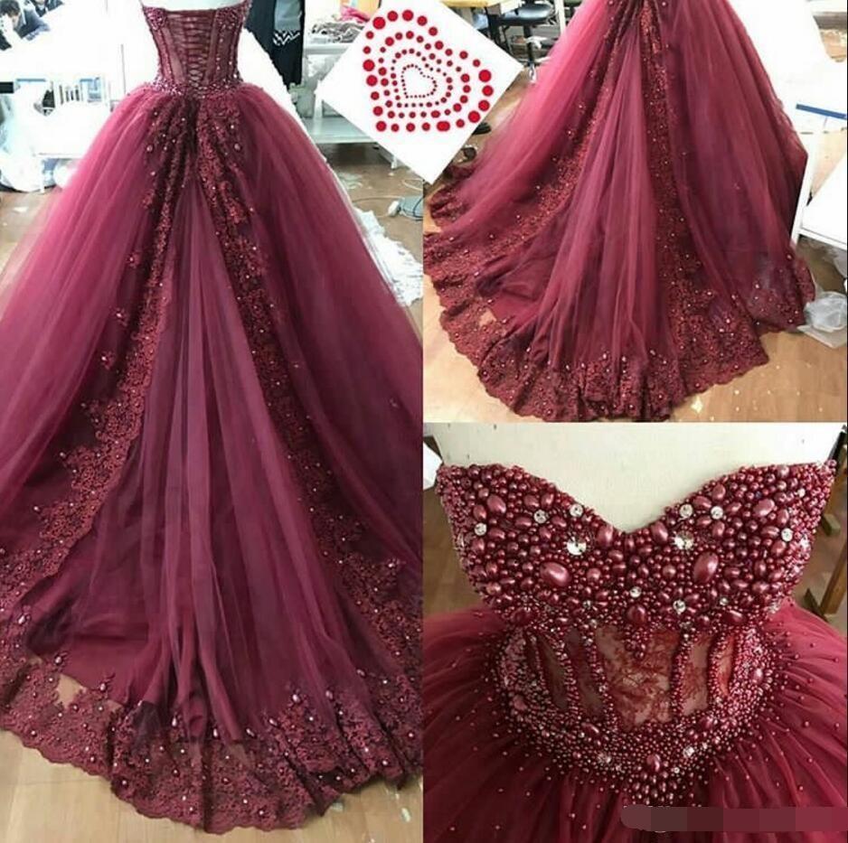 2019 lilas Quinceanera robe de bal robes chérie perlée perle volants Corset dos gonflé grande taille formelle fête robe de bal