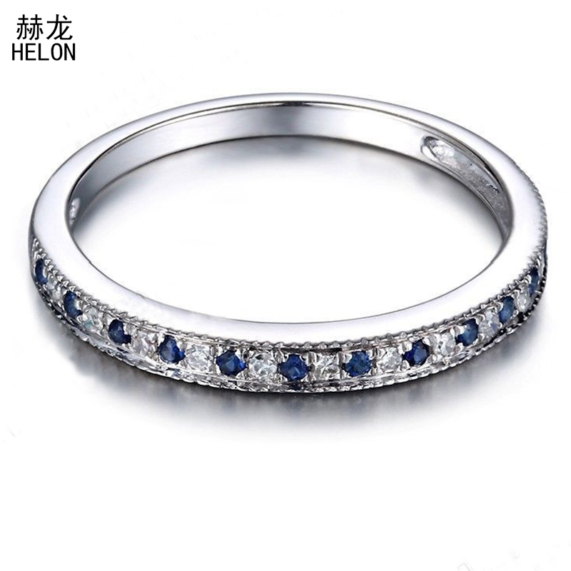 Sterling Silver 925 Pave 0.2CT 100% Genuine Natural Diamonds & Sapphires Engagement Wedding Women Trendy Fine Jewelry Band Ring