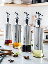 Oil pot glass bottle leakproof seasoning stainless steel oil tank vinegar household soy sauce