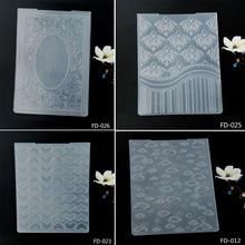 New cyan pattern embossed folder / sealed DIY scrapbook album decoration card making transparent stamp