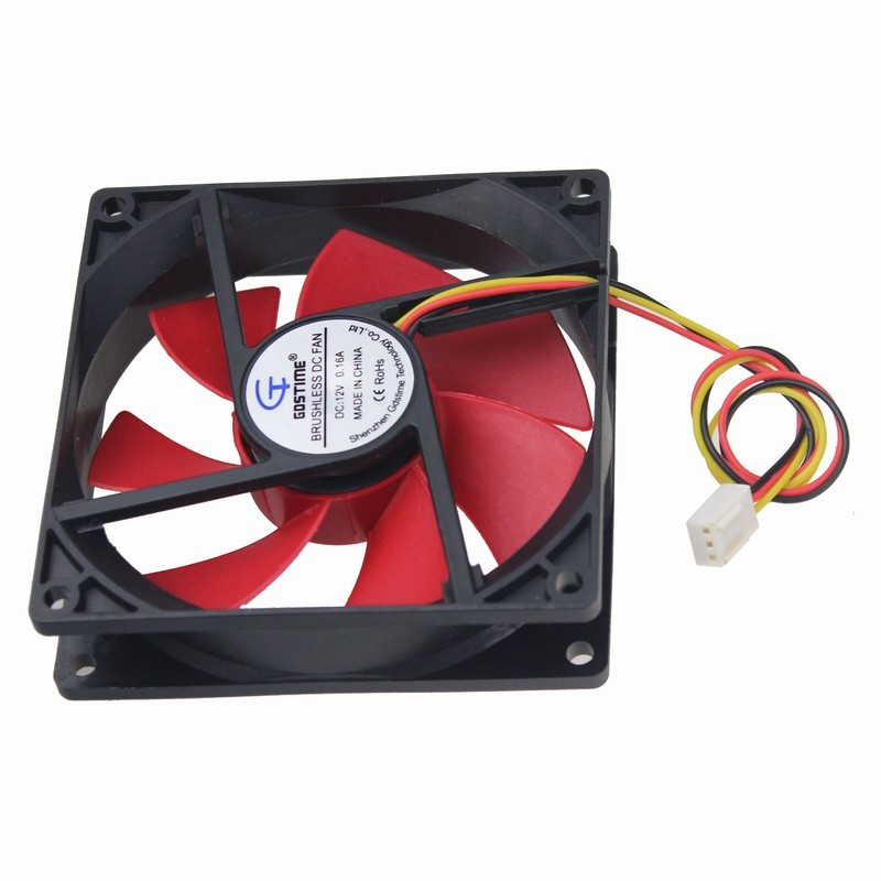Gdstime 1 piece Ultra Quiet 90x90x25mm Fluid Bearing Cooling Fan 9cm Red Blade DC 12v 3Pin CPU Fan 90mm x 25mm 9225 free shipping adda ad0912lb a70gl 9cm 90mm 9225 silent dual ball bearing chassis fan 12v 0 13a