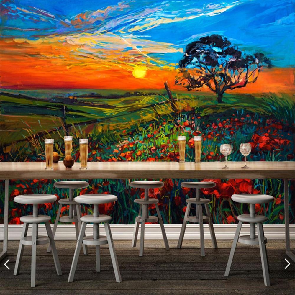Champ de fleurs au coucher du soleil peinture à l'huile 3d papier peint mural papel de parede, salon TV mur chambre papiers muraux décor à la maison