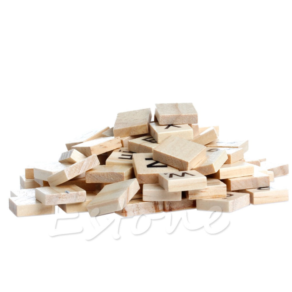 100 Wooden Alphabet Scrabble Tiles Black Letters & Numbers For Crafts Wood New