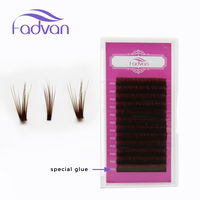 FADVAN Flare Eyelashes Extension 0 07mm Volume Russian Silk Eyelash 11mm 12mm Cilia Outstretched Permanent Lashes
