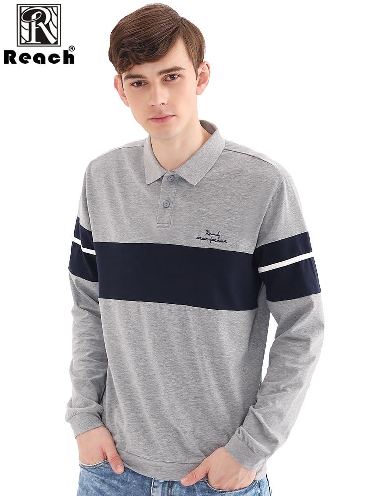 Reach Long Sleeve Polo Shirts Mens Casual Polo Shirt Men Color Block Cotton Polos Para Hombre Manga Larga Mens Top European Size