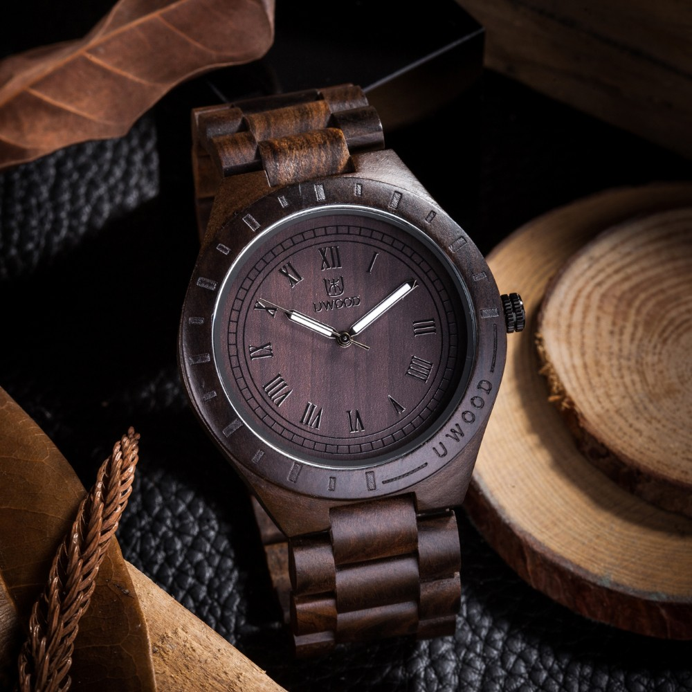 18 Hot Sell Men Dress Watch QUartz UWOOD Mens Wooden Watch Wood Wrist Watches men Natural Calendar Display Bangle Gift Relogio 9