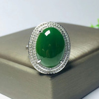 Free Certificate_Drop Shipping Women's Ring Green HETIAN Jades Silver Ring Egg Ring for Female's Fashion Jades Jewelry