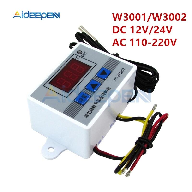 XH-W3001 W3002 DC 12V 24V AC 110-220V LED Digital Temperature Controller Thermostat Thermoregulator Sensor Meter Heating Cooling