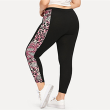Sport Plus Size Leopard Side Printed Fitness Pants for Women