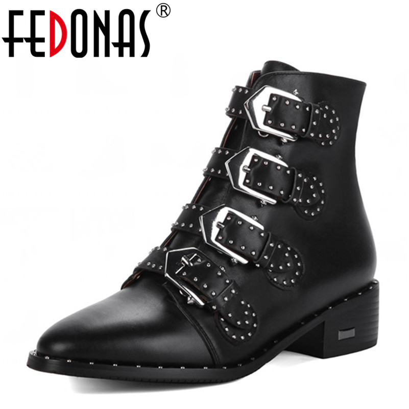 FEDONAS New Women Punk High Heeled Ankle Boots Genuine Leather Autumn Winter Warm Sexy Motorcycle Martin Snow Boots Shoes Woman lozoga quality genuine leather shoes men boots high top martin motorcycle autumn winter shoes lover snow boots free shipping