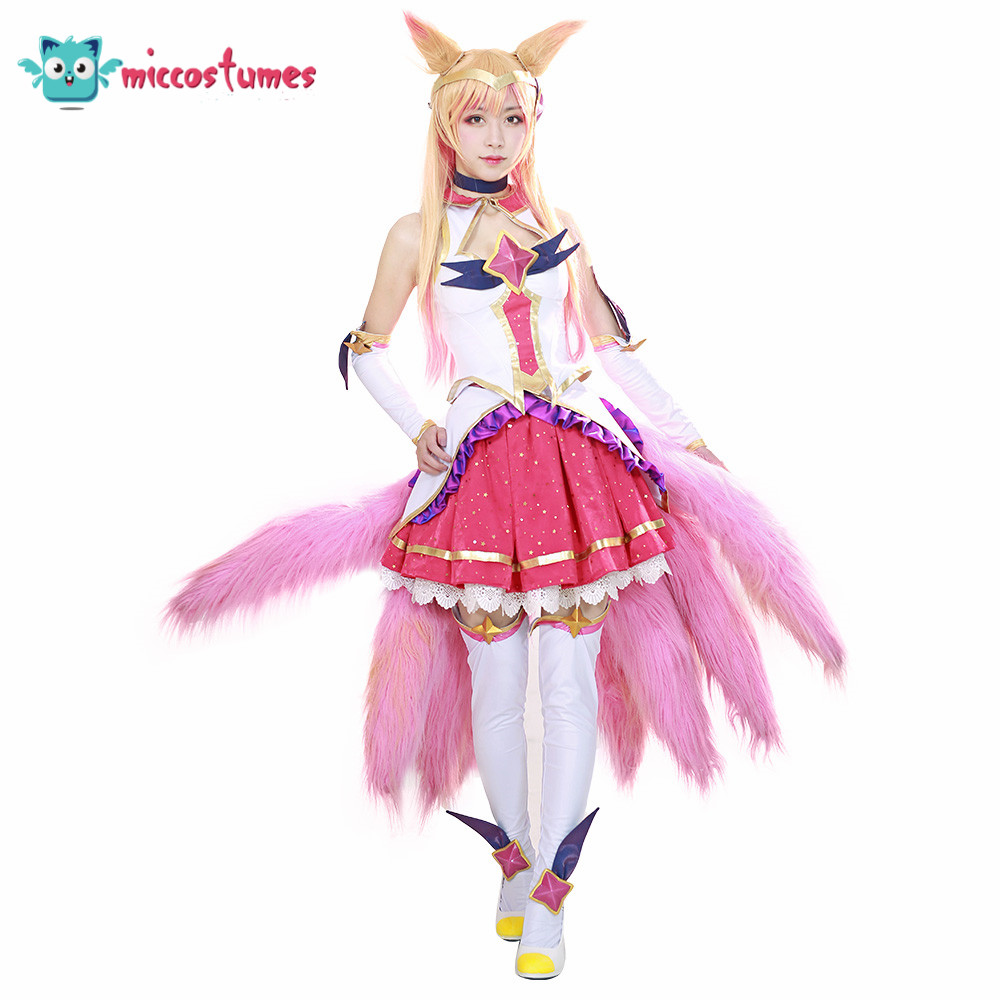 LOL  Ahri Cosplay Costume Women Outfit Pink Top Skirt