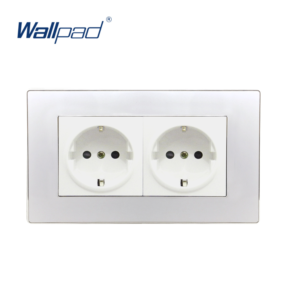 Double EU Socket German Standard Wallpad Luxury Wall Outlet Acrylic Panel 146*86mm Wall Power Outlet Schuko double eu socket french standard wallpad luxury wall outlet satin metal panel 172 86mm wall power outlet schuko