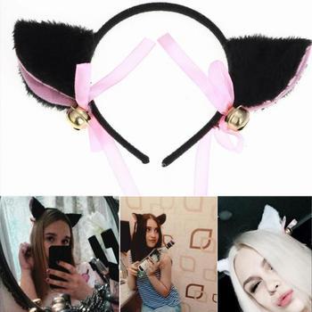 Fashion Night Party Club Bar Wearing Decorate Headbands Cat Fox Fur Ear Pattern Hair Clip Bell Cat Ear Hair Clips for women
