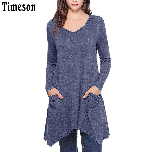 إمرأة الخامس الرقبة غير المتكافئة هيم كم طويل محبوك طويل تونك القمم مع جيوب سوداء عارضة زائد حجم قميص الصلبة بلوزة الإناث