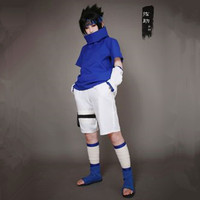 Athemis Naruto Sasuke Uchiha Cosplay Costume And Blue Headband Custom 2 Colors For Pick