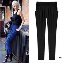 Women's girls clothes plus-size ankle-length stretch Pleated Mid Casual large yards harem Pants & Capris Y072