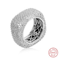 Luxury Square 925 Sterling Silver Rings For Women Wedding Jewelry For Women Pave setting Full 420PCS Simulated Diamond Platinum