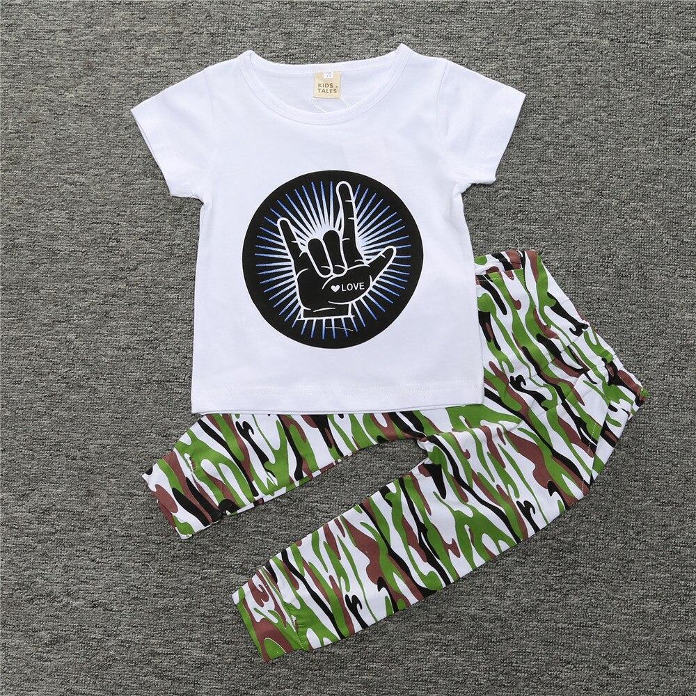 Kinderverhalen Zomer Baby Jongenskleding Sets Katoenen T-shirt met korte mouwen + Camouflage Broek Baby Boy Kleding set baby 2PCS pak