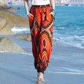 Новое Прибытие Женщин Богемия Национальный Пляж Брюки Моды Цветочные Брюки Случайные Гарем Брюки Свободные Шаровары