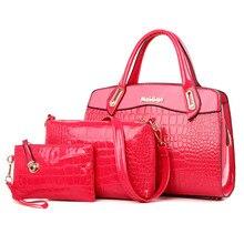 3 Set Handbag Women Handbag-set Crocodile Spring Famous Tote Bag kors Handbag Clutch Embossed Colorful Pink Lady Bags Online N92