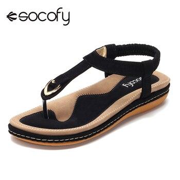 Socofy Grote Maat T-Strap Strand Sandalen Vrouwen Zomer Schoenen Elastische Slip Op Clip Teen Platte Sandalen Dames Schoenen vrouw Sandalias