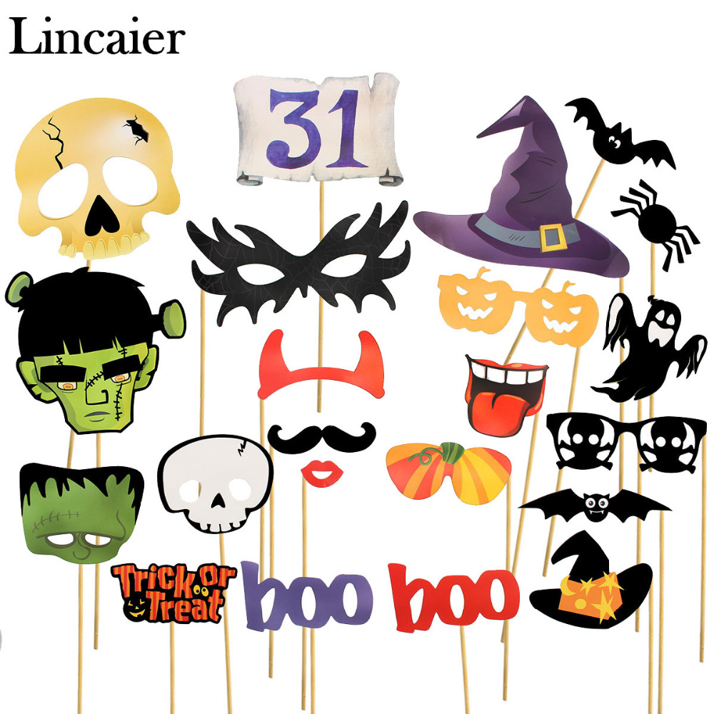 Halloween decoration clipart - Lincaier Halloween Decoration 10 16 22 Piece Photo Booth Props Mascara Mask For Kids Men Photobooth
