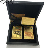 Luxury 24K Gold Plated Playing Cards With 100 Dollar & 500 Euro Style, Collection Gift 2pcs Poker Game + 1 Wooden Case