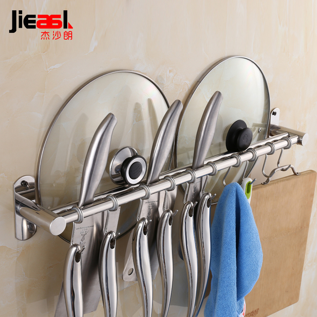 Kitchen Knife Brand Wall Pan Pot Rack Ledge 304 Stainless Steel Wall Shelf  Hooks Tool Holders