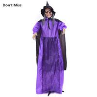 Haloween Decoration 1.8m Standing Horror Witch Big Size Electric Ghost with Scare Voice Glowing Eyes Door Props for Welcome