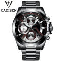 CADISEN Military Sport Quartz Watch Men Luxury Brand Casual Watches Men's Wristwatch army Clock men full steel relogio masculino