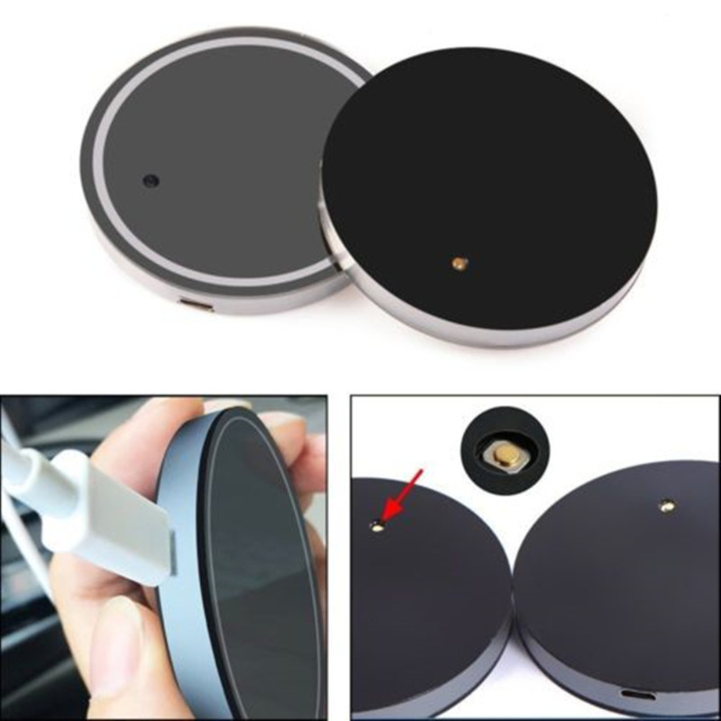 Image 3 - 2PCS Car LED Light Cup Holder Bottom Pad 7 Colors Auto USB Ambient Light Atmosphere Lamp for All Car Anti Slip Mat Auto Products-in Drinks Holders from Automobiles & Motorcycles