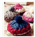 Free shipping Rabbit hair knitted cap New winter thick twist three color round big rabbit fur ball hitting scene lady hat