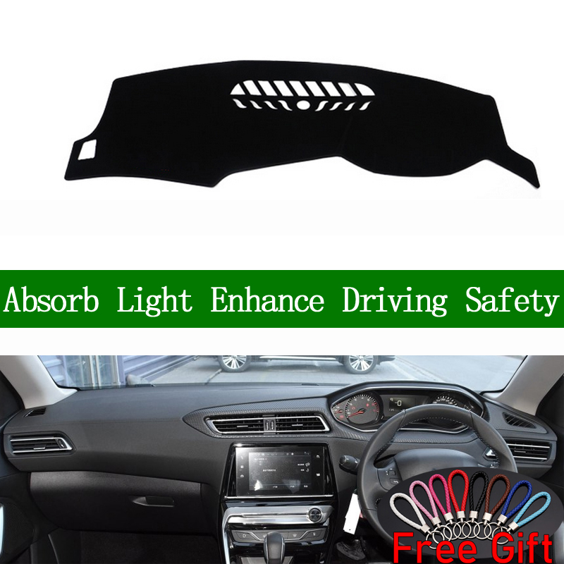 For Peugeot 308 2016 2017 2018 2019 Right Hand Drive Dashboard Cover Car Stickers Sun Shade Dash Mat Carpet Interior Accessories