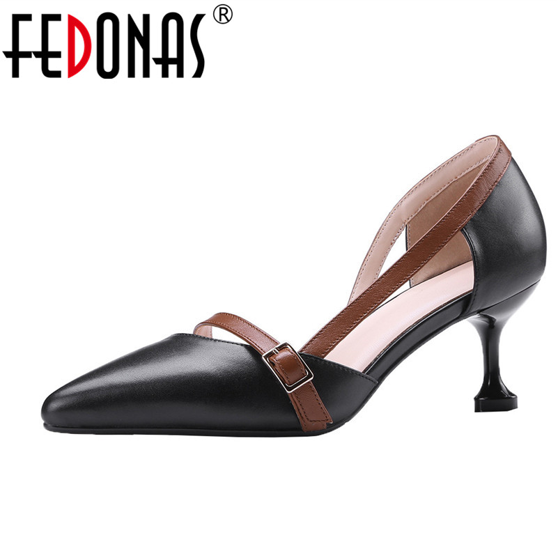 FEDONAS Spring Autumn Women Lazy Genuine Leather Shoes Woman High Heels Pointed Toe Fashion Party Shallow Wedding Shoes Pumps spring autumn women pumps mules shoes patent leather casual fashion slip on pointed toe big size lazy shoes shallow thin heels