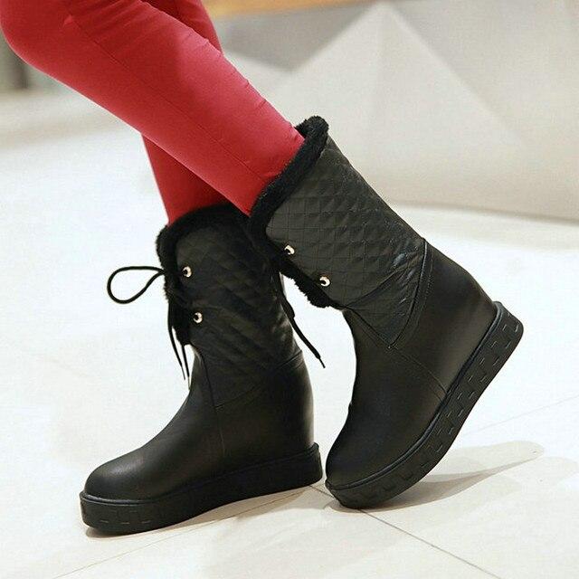 Женщины Платформа Зима Снег Середины Икры Сапоги Мода Высота Увеличение Зашнуровать Ботинки Женщин Белый Черный Бежевый