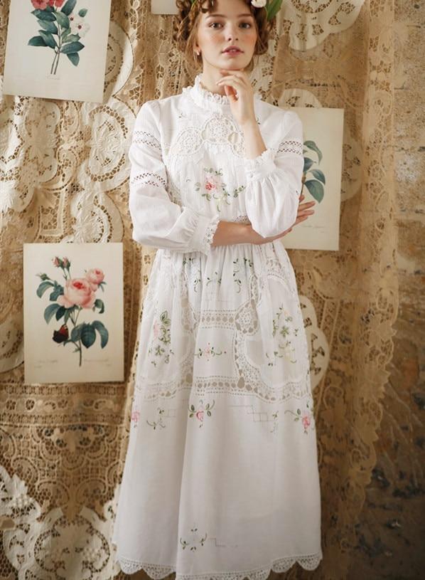 Printemps automne femmes Vintage élégant coton blanc longue robe dames rétro édition limitée Antique Crochet broderie robe formelle
