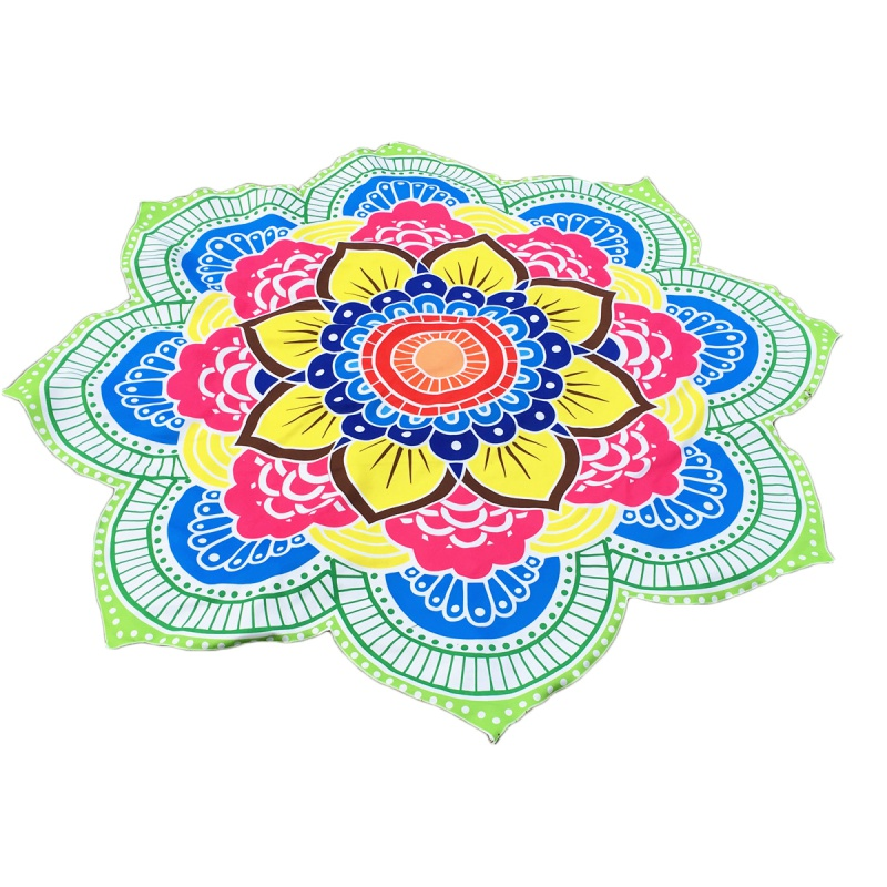 147*147cm Large Round Lotus Flower Printed Mandala Flower Beach Towel Shawl Throw Towels ...