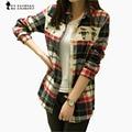 Women Long Sleeve Plaid Blouse Blusas Plaid Graphic OWL Printed Color Block Slim Shirt Tops For Women Clothes T6008