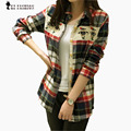 Mulheres blusa de manga comprida xadrez blusas xadrez gráfico owl impresso color block magro shirt tops para roupas femininas t6008