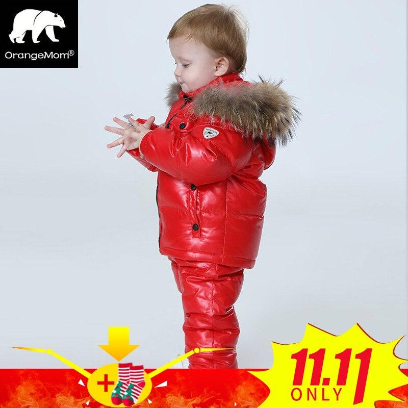 -30 градусов русской зима детская одежда комплекты одежды для девочек на новый год канун куртка-парка для мальчиков пальто вниз Зимняя одежд...