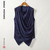 Sinicism Store Mens Cotton Linen Vest Men Sleeveless Solid Fluttering Coat Male Chinese Style Big Size New Singlet