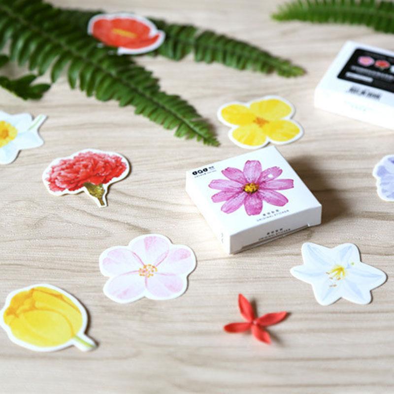 45pcs/lot(1 bag) Korea creative DIY flower flower Sticker scrapbooking seal sticker kawaii stationery gift Free Shipping