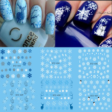 1 Sheet Water Nail Sticker Christmas Design Temporary Tattoos Elk/Snow Flowers/Owl Pattern Transfer Beauty Nail Art TRSTZ429-439