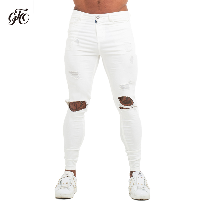 Gingtto Mens Jenas Brand Super Spray on Sskinny   jeans   men white Elastic Waist Europe Size Athletic Body Type Street Fashion