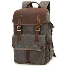 Outdoor Waterproof Photography DSLR Camera Backpack Wax Dye Canvas Video Digital Photo Bag Case New цена и фото
