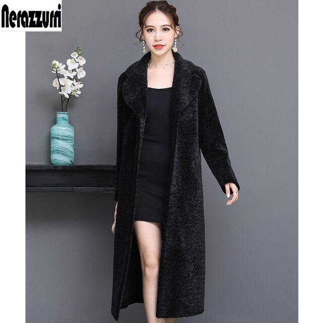 589b43aeae4 Nerazzurri Real fur coat female natural fur coats women long thicken warm  lamb shearling plus size sheep fur outwear 5xl 6xl 7xl